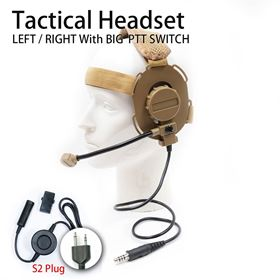 Picture of S2 plug Tactical Headset with Big PTT Switch for 2-Pin Midland